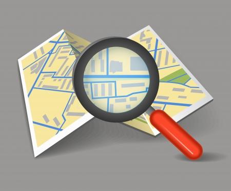 elhelyezkedés: Hajtogatott térkép nagyítóval Illusztráció