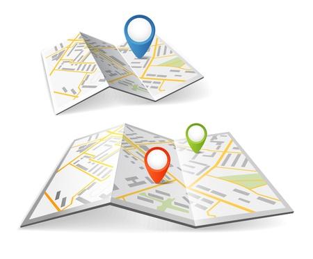マーカーをポイントの色と折り畳まれたマップ  イラスト・ベクター素材
