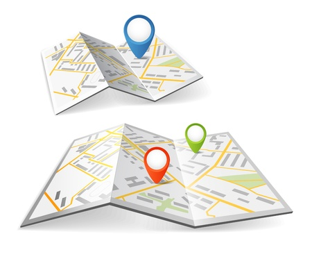route map: Folded maps with color point markers Illustration