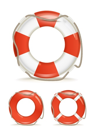 life support: life-buoy collection isolated on white
