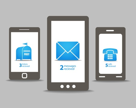 web mail: Group of modern mobile phones with speech clouds Illustration