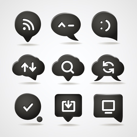Abstract speech clouds with web icons collection Vector