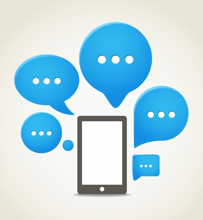 phone icon: Modern mobile phone with group of speech clouds