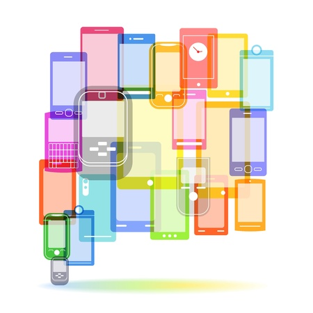 Abstract color speech cloud of modern mobile phones Stock Vector - 16437597