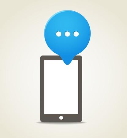 Modern mobile phone with a blue speech cloud Stock Vector - 16437615