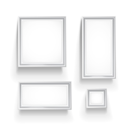 photo album page: Empty picture frames collection isolated on white