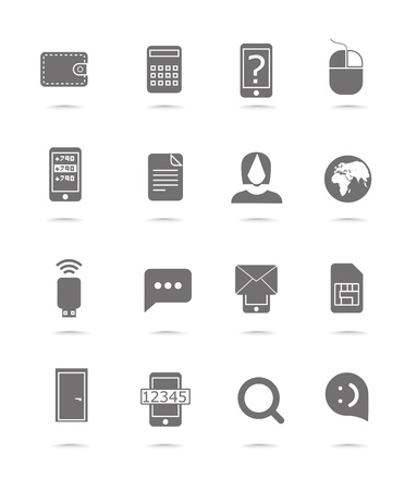 phone number: Web silhouettes collection isolated on white Illustration