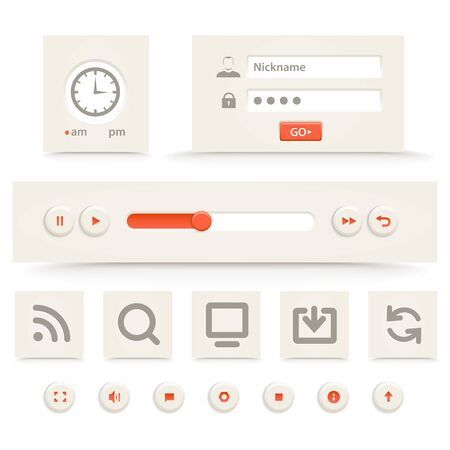 command button: Web player interface template