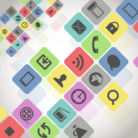 media player: Modern media icons in color squares Illustration