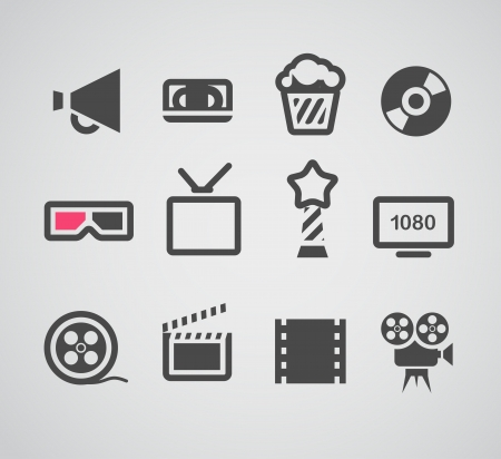 icons: Cinema web silhouettes collection Illustration