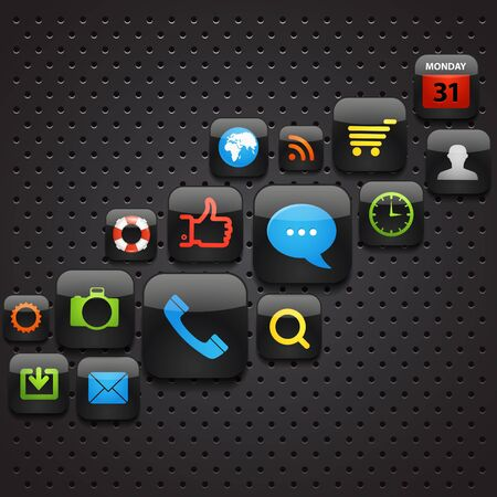 foto: Mobile interface icons abstract background Illustration