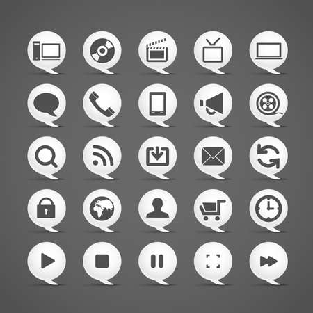 media player: Modern media icons in clouds collection