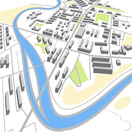 視点で抽象的な市内地図  イラスト・ベクター素材