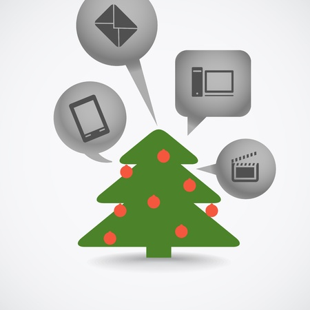 Christmas tree and different gifts Vector