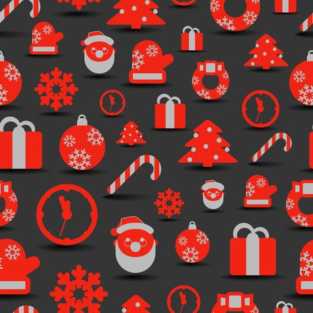 Christmas silhouettes seamless background Vector