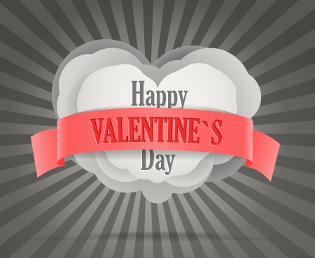 velvet ribbon: Abstract heart with red velvet ribbon  Happy Valentine s Day