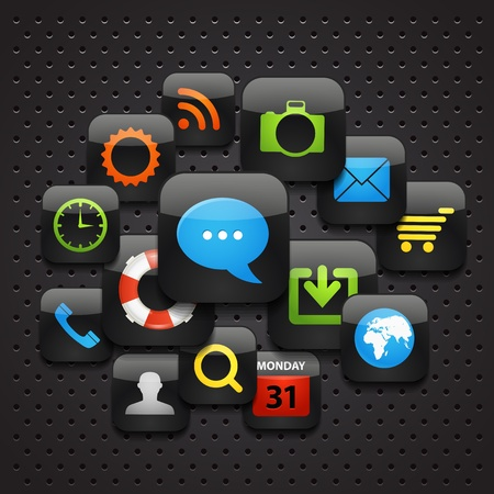 phone system: Mobile interface icons abstract background Illustration