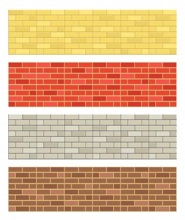 bricks: Different color brick textures collection Illustration