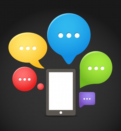 Modern mobile phone with group of color speech clouds Vector
