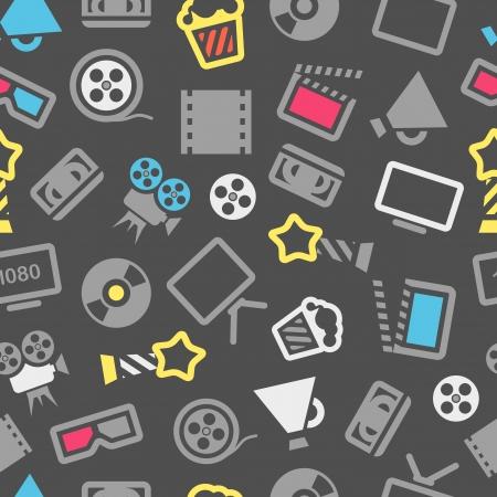 Cinema web silhouettes seamless pattern