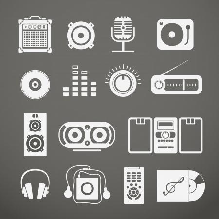 アイコンのコレクションのオーディオ機器