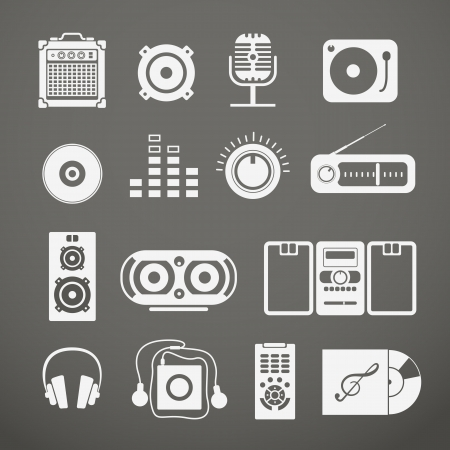 audio: Audio equipment icons collection Illustration