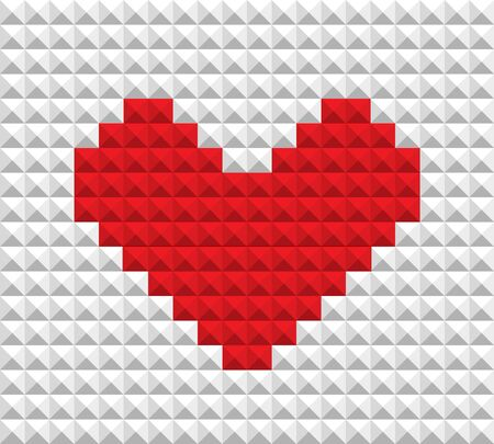 Abstract red heart of blocks Vector