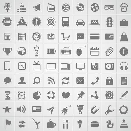 phone the clock: Web application icons collection Illustration