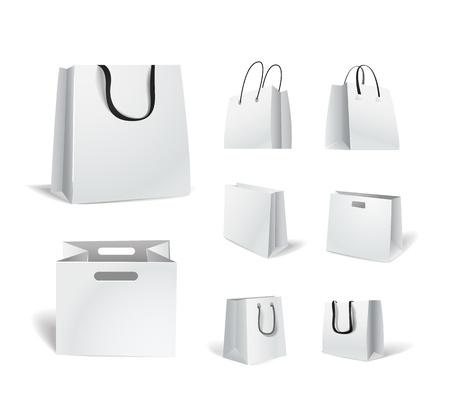 白いコレクション上で分離されて紙のショッピング バッグ  イラスト・ベクター素材