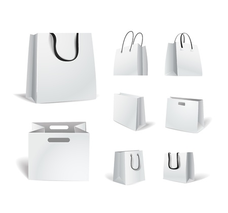 Paper shopping bags isolated on white collection Vector