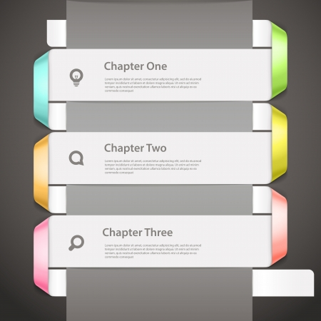 chapter: Website paper page design template with icons and sample text
