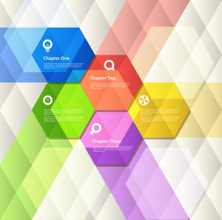 hexagon background: Abstract geometric design template Illustration