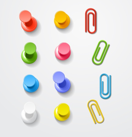 push pins: Color pins and clips collection Illustration