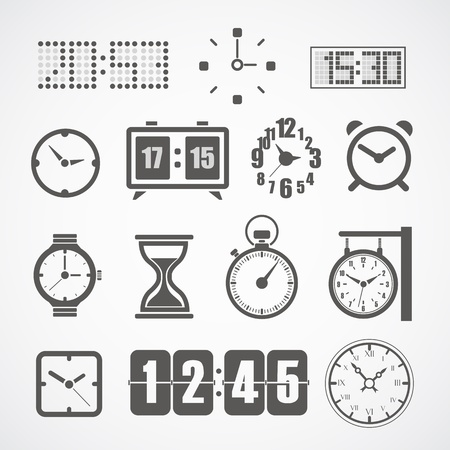 reloj despertador: Diferentes estilos de reloj de colección ilustración Vectores
