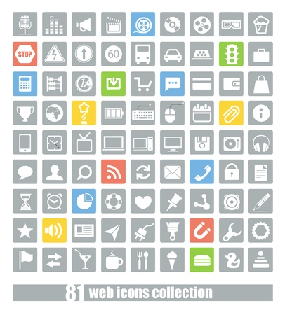 81 Web application icons collection Stock Vector - 18215353