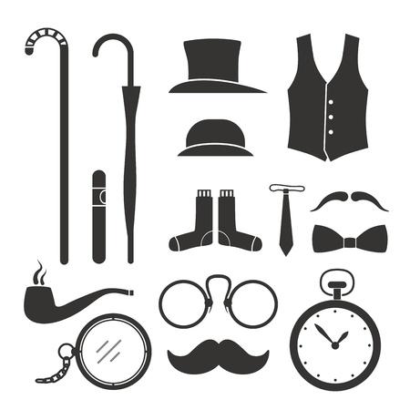 Caballeros elementos de diseño vintage cosas colección