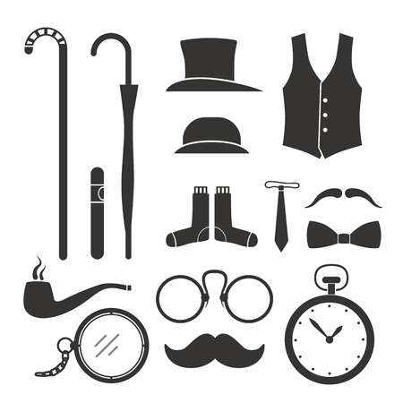 vintage cigar: Gentlemens vintage stuff design elements collection Illustration