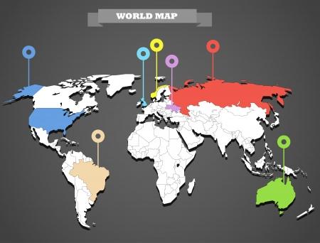 世界地図インフォ グラフィック テンプレートのすべての国が選択可能