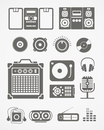 Audio equipment icons collection Ilustração