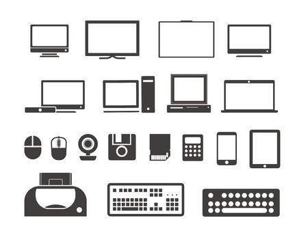 Electronuic equipment icons collection  Isolated on white Stock Vector - 18519144