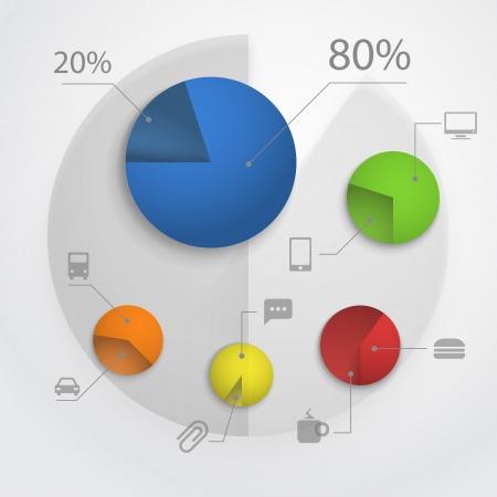 Color pie-chart diagram collection Illustration
