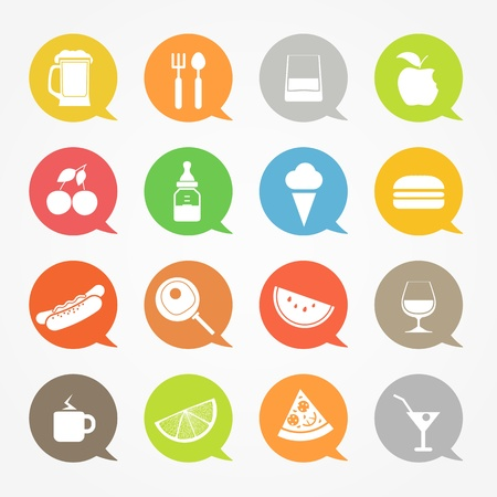 drink and food: Food web icons set in color speech clouds Illustration