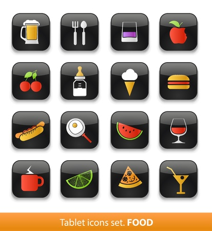 Food and drink  Tablet buttons collection isolated on white Stock Vector - 18675658