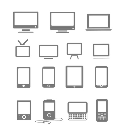 Abstract style modern and vintage mobile gadgets and monitors