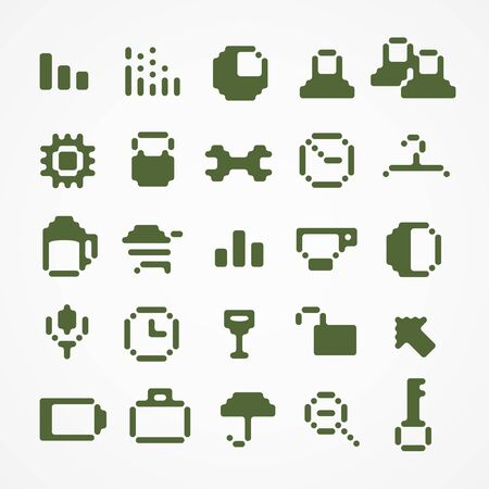 Pixel web icons collection  set 1 Vector