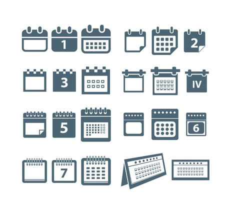 open diary: Different styles of calendar web icons collection