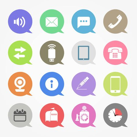 phone the clock: Communication web icons set in color speech clouds