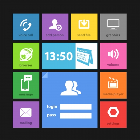 time account: Web color tile interface template with modern icons