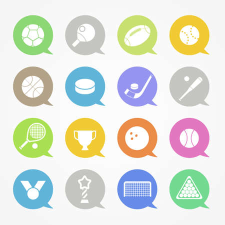 Sports web icons set in color speech clouds Vector