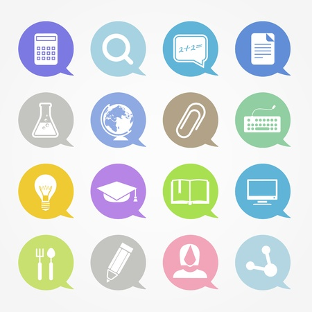 Education web icons set in color speech clouds Vector